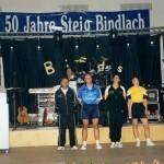 Die momentan aktuelle Sportkleidung: v.links Horst Dünkel, Holger Dünkel, Susanne Helger, Ilona Dregelies